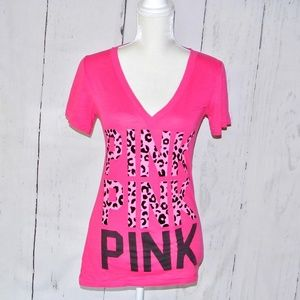 Victoria's Secret PINK Logo T-Shirt S V neck